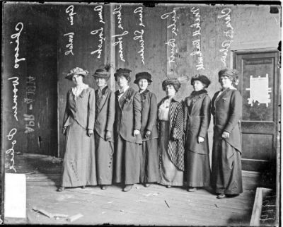 Policewomen Agnes Walsh (from left), Anna Loucks, Theresa Johnson, Anna Sheridan, Lulu Burt, Mabel Rockwell, and Miss Clara B. Olsen.  Source: Chicago History Museum