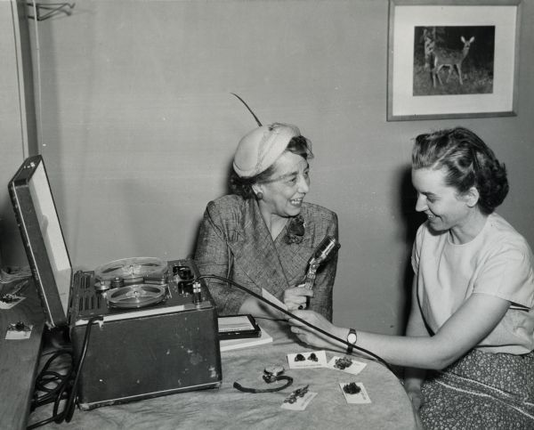 Aline Hazard interviewing a guest on the Homemaker Program Source: Wisconsin Historical Society