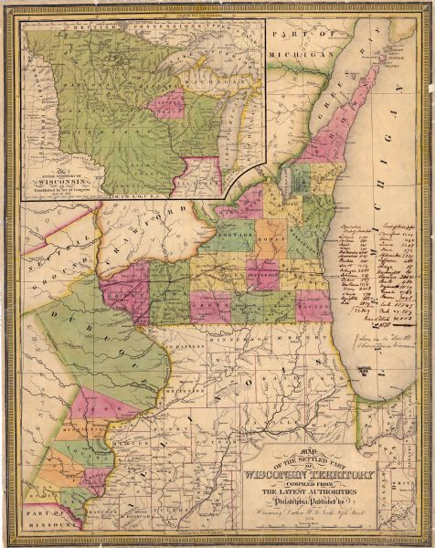 Map of the Wisconsin Territory Wisconsin Historical Images
